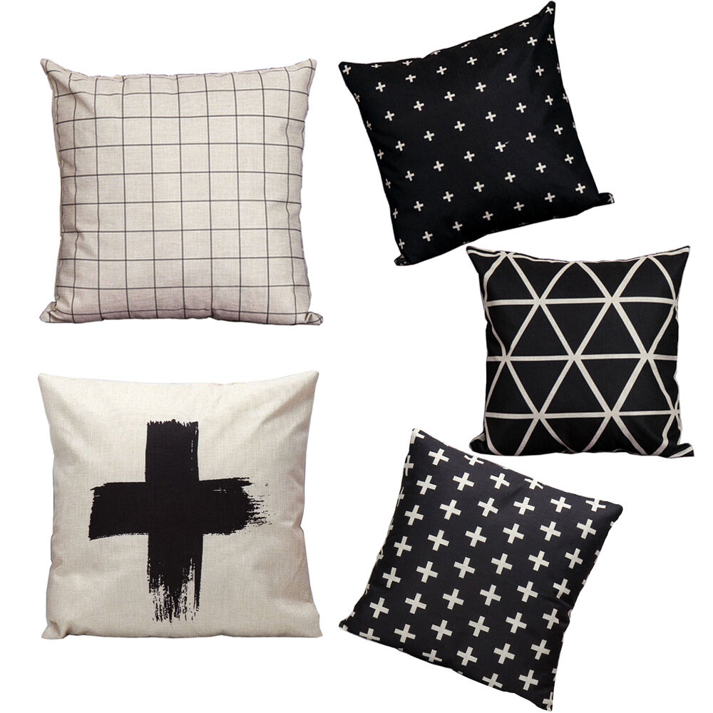 Black and white series cotton linen home decor pillow case for White craft pillow cases