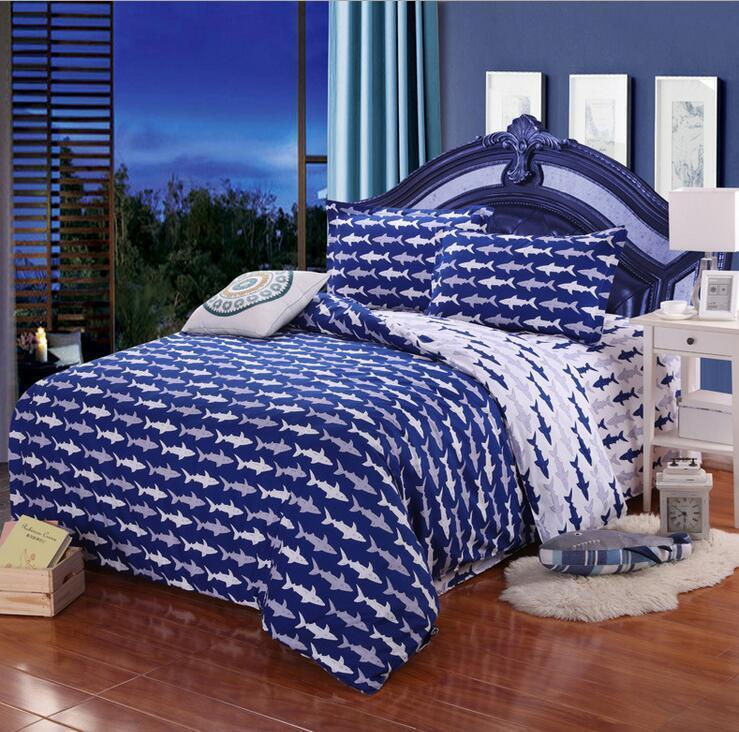blue shark single double queen king size bed set pillowcases quilt duvet cover ebay. Black Bedroom Furniture Sets. Home Design Ideas