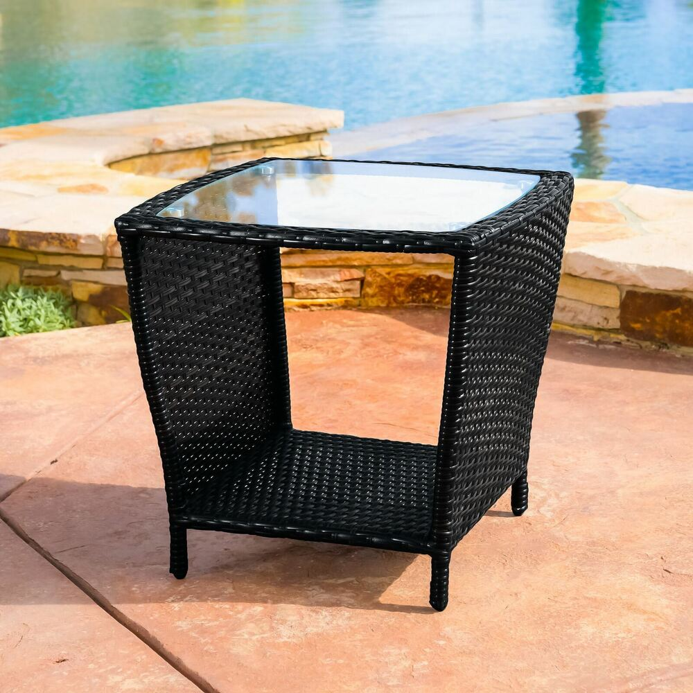 Outdoor Patio Furniture Elegant Black Wicker Side Table W