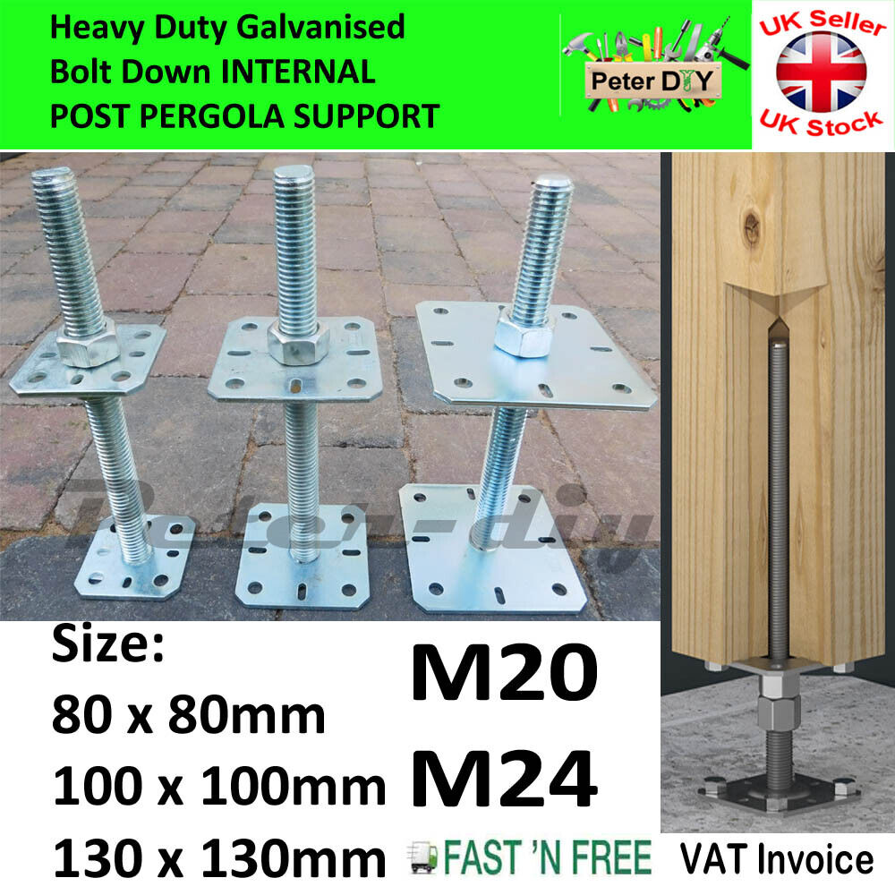 Heavy Duty Galvanised Bolt Down Post Support Height: 25 Cm