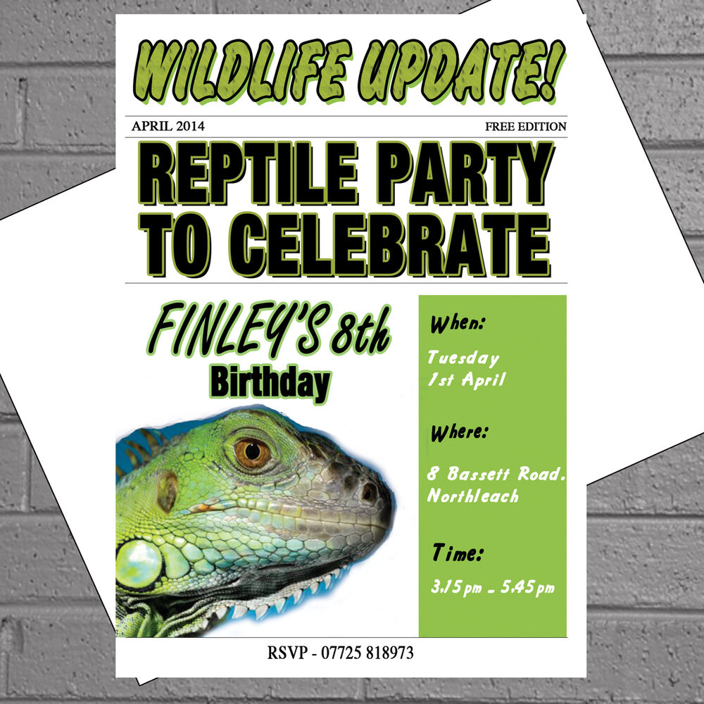 Personalised Kids Birthday Party Invitations X 12envs Reptile