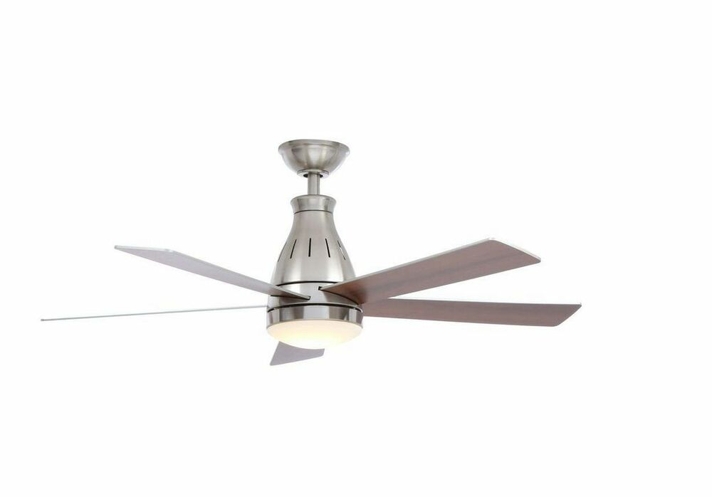 48 in brushed nickel indoor led ceiling fan w remote light kit 4 5 in downrod ebay. Black Bedroom Furniture Sets. Home Design Ideas