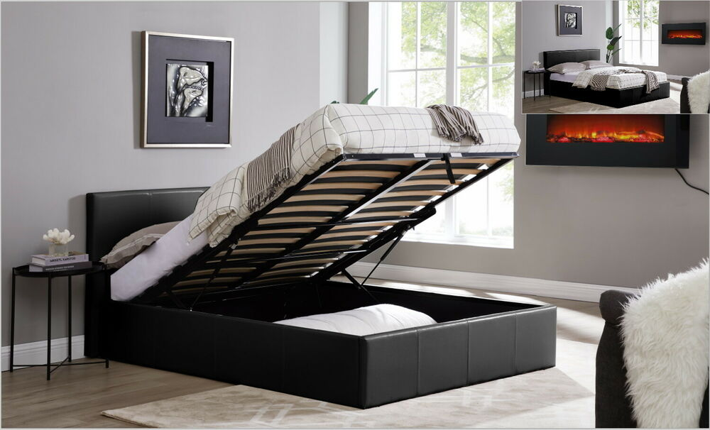 Black faux leather ottoman storage bed gas lift bedframe - Lift up storage bed ...