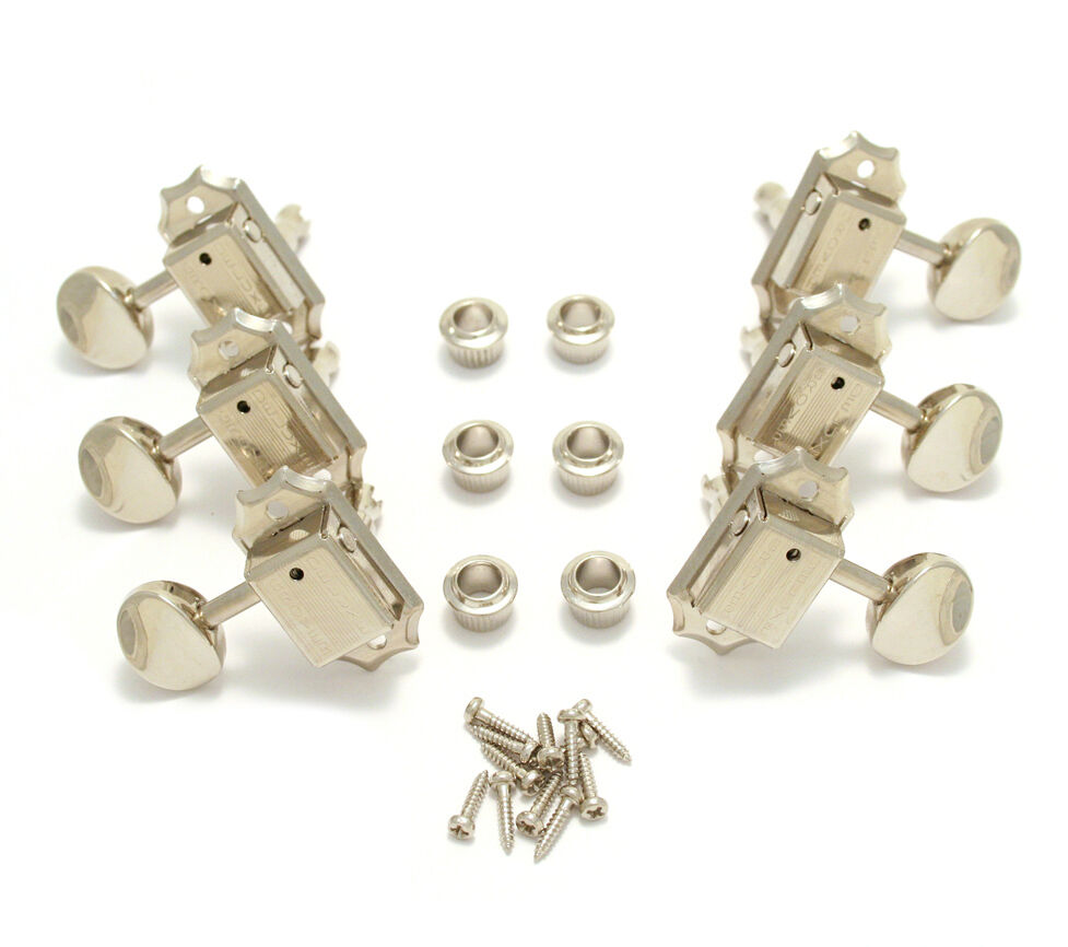 grover nickel 3 per side inline guitar tuners for vintage gibson 133n ebay. Black Bedroom Furniture Sets. Home Design Ideas