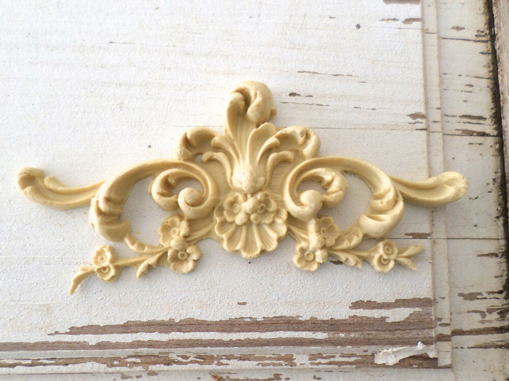 architectural carved floral crest furniture appliques wood resin flexible appliques for furniture
