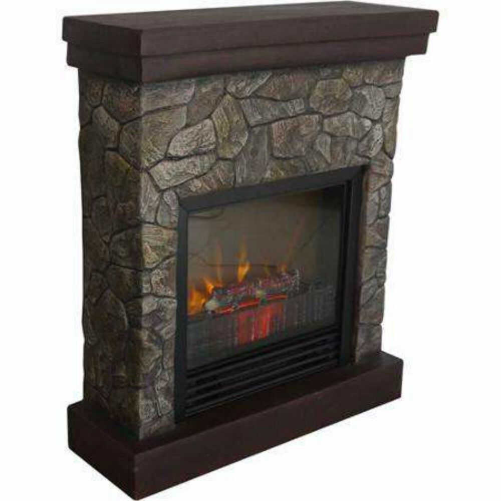 Electric Fireplace Room Heater Stand Furniture Mantle Wood Faux Stone Flame New Ebay