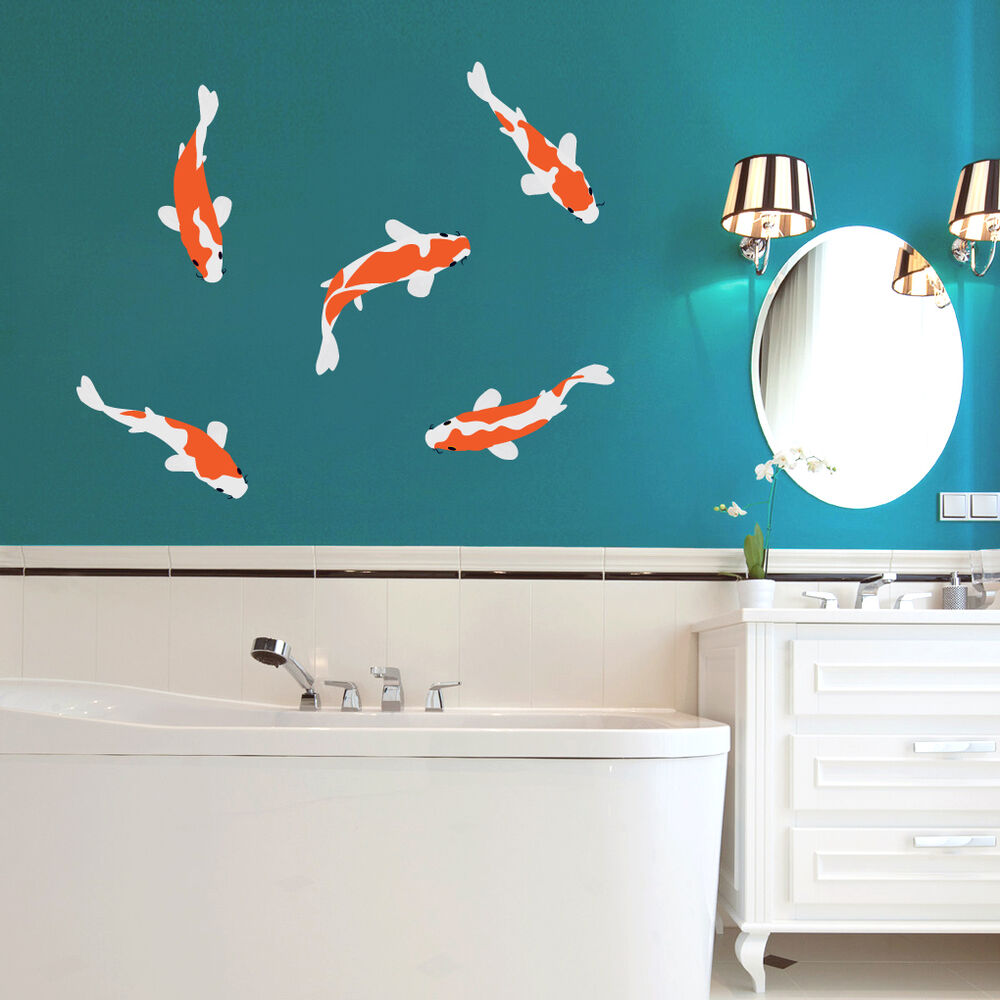Koi fish nursery kids room animal bathroom printed for Koi fish wall decor