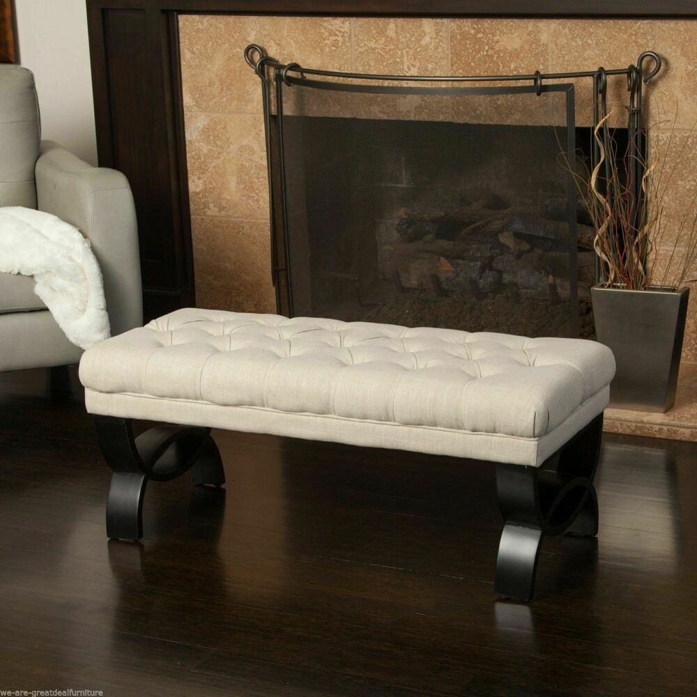 Living Room Furniture Beige Tufted Fabric Ottoman Bench W Crossed Legs EBay