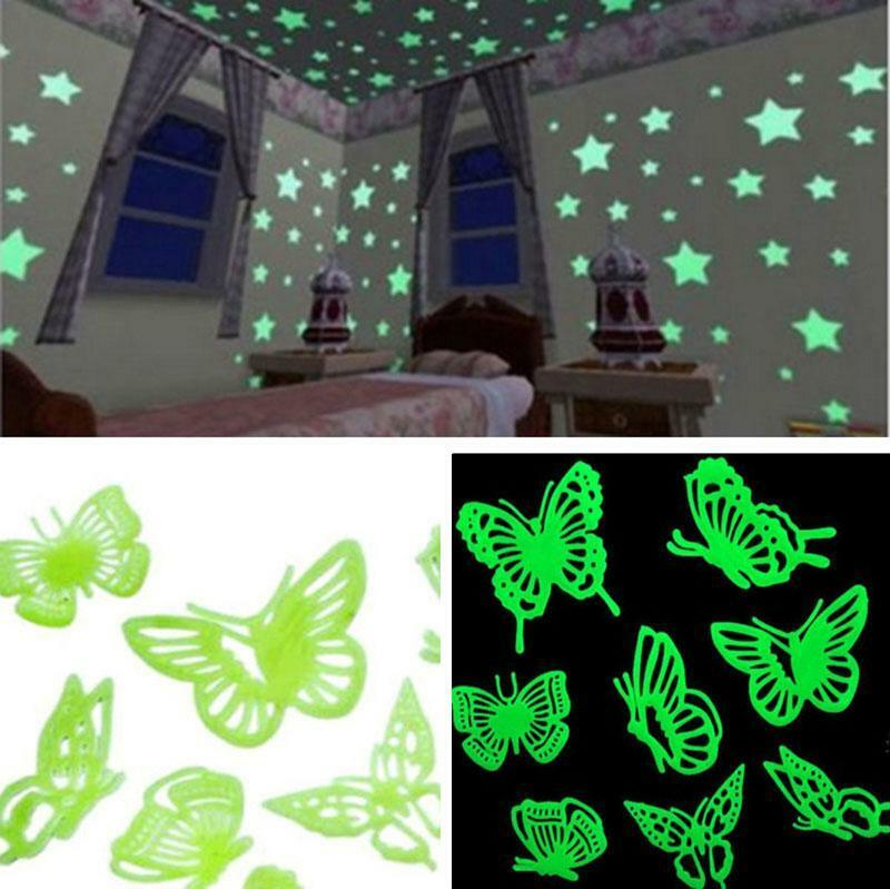 Butterfly Glow In The Dark Kids Baby Home Decor Room Wall