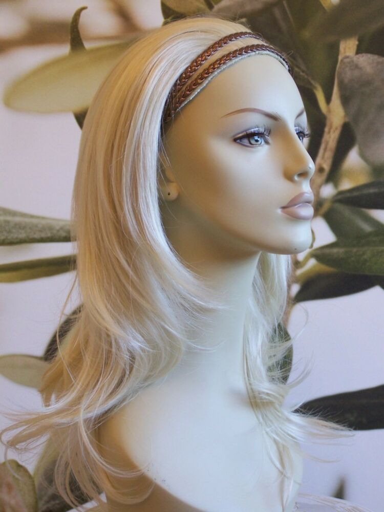 Light Blonde 18 Quot Long Ladies 3 4 Half Wig Fall Clip In