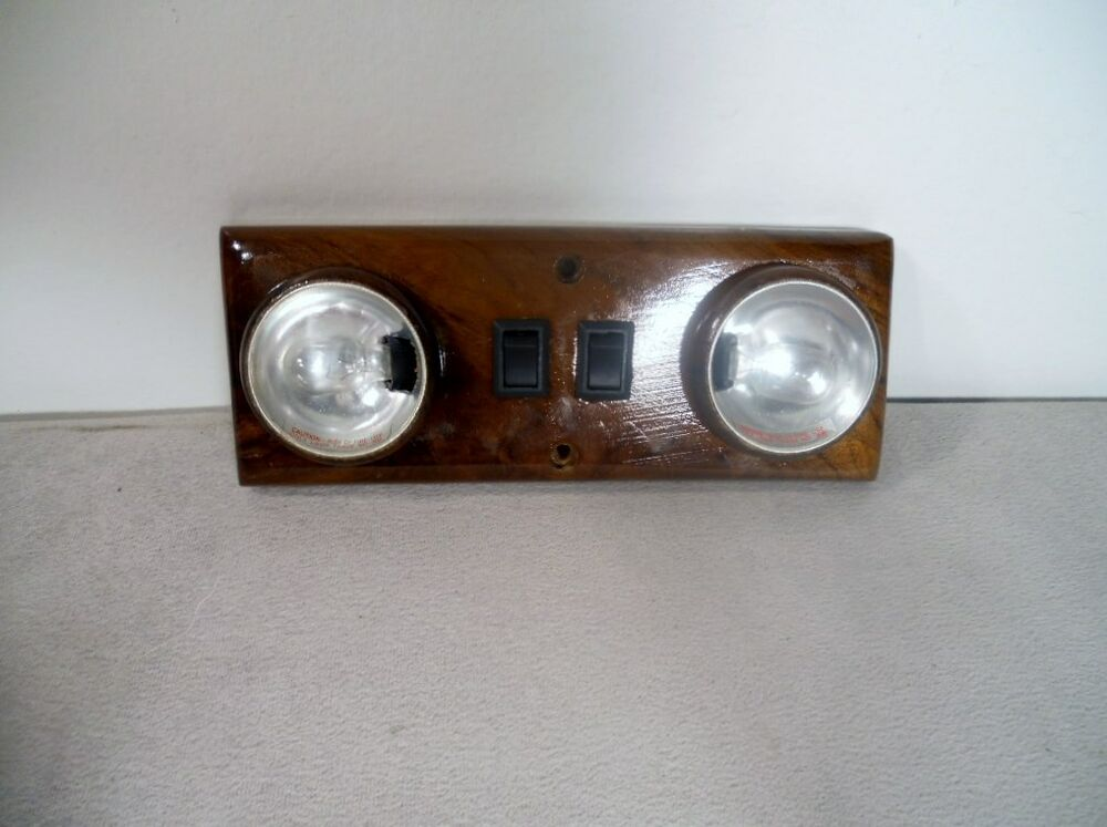 walnut wood 12v dual interior light for van rv motorhome. Black Bedroom Furniture Sets. Home Design Ideas