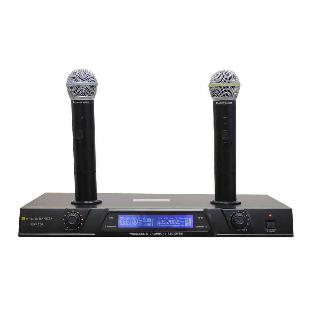 martinranger uhf700 uhf 2 mic recharge wireless microphone cordless rechargeable ebay. Black Bedroom Furniture Sets. Home Design Ideas