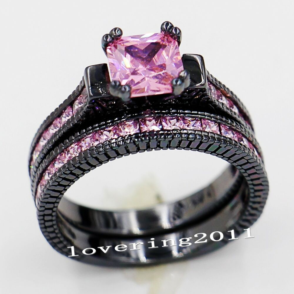 Lovers Engagement Pink sapphire 14KT Black Gold Filled Wedding Ring Sets Sz 5