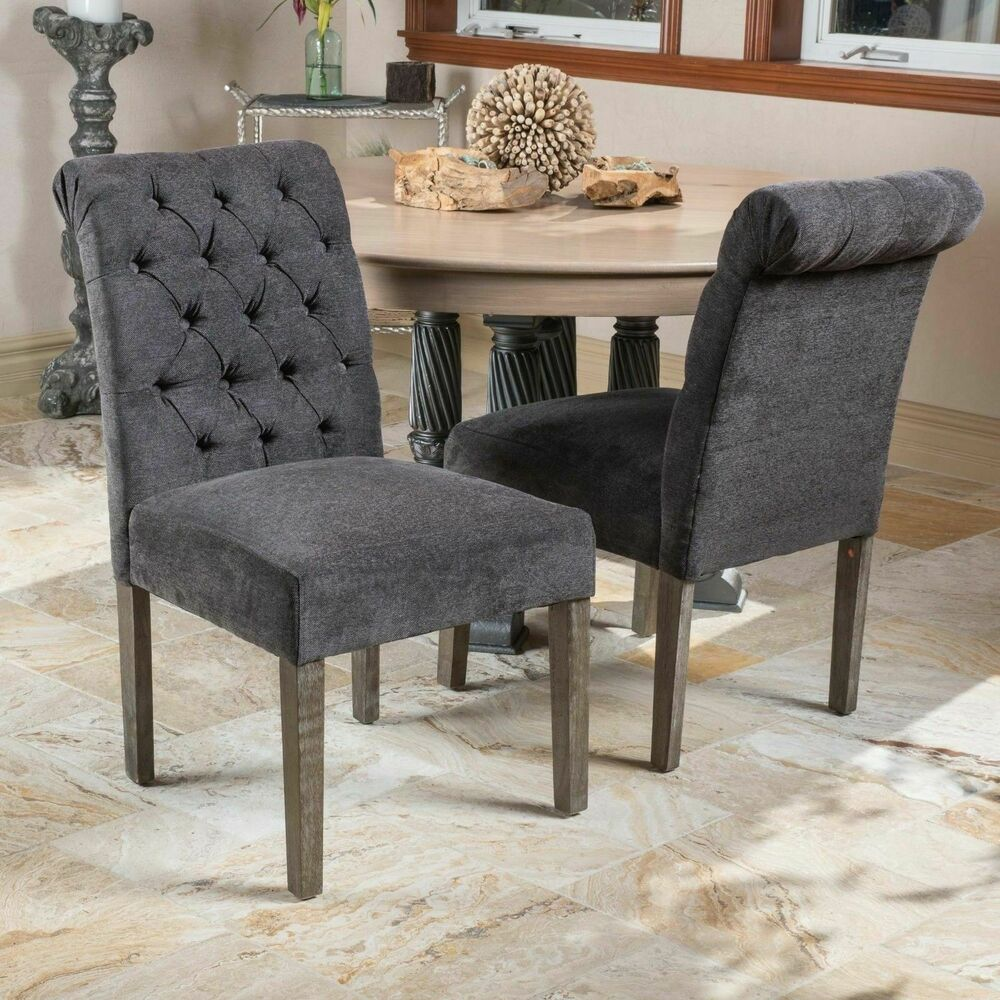 Set Of 2 Roll Back Tufted Dining Chairs Chairs W Button