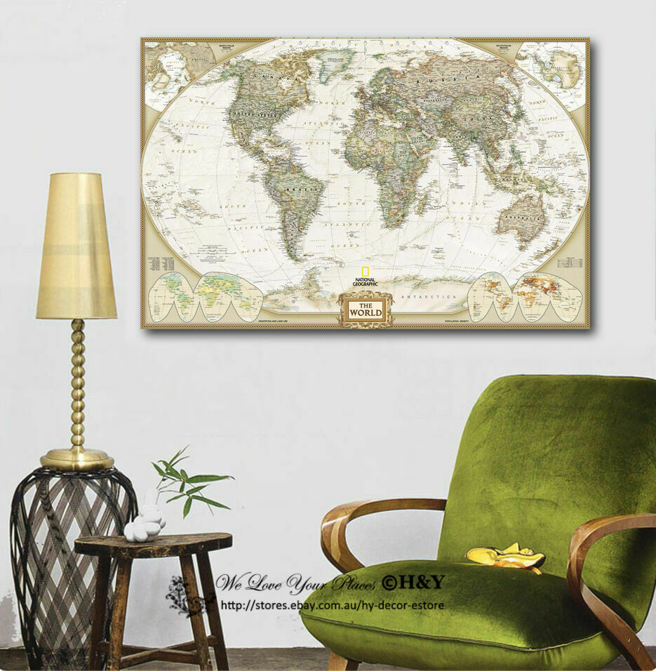 Home Decor Walls: Vintage World Map Stretched Canvas Print Framed Wall Art