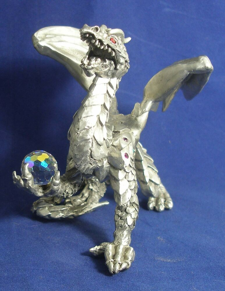 Dragon pewter big giant winged comstock 4133 crystal ball ebay - Pewter dragon statues ...