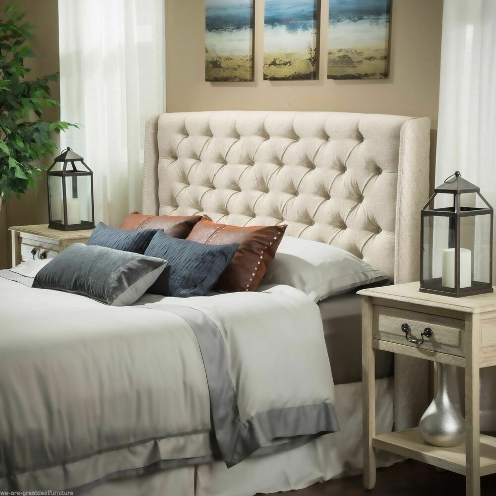 bedroom furniture queen full size bed wingback eggshell tufted fabric