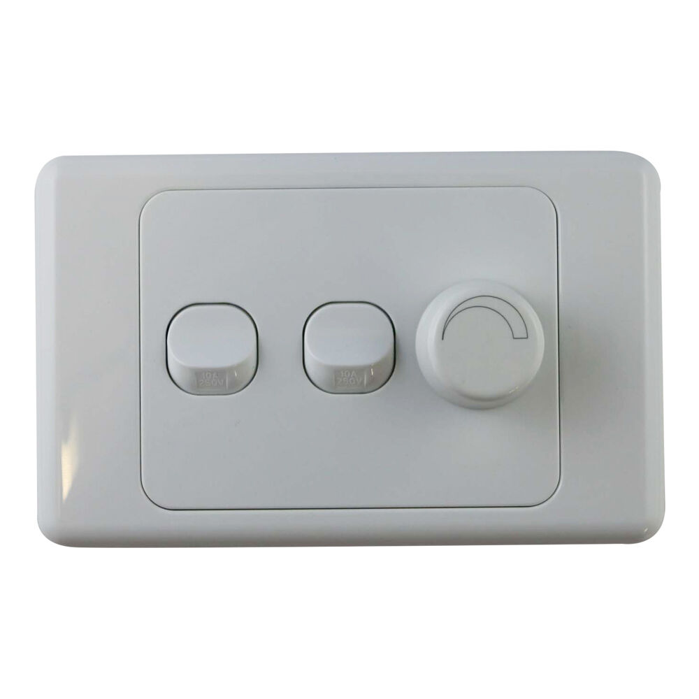 3 gang wall plate with switch led light dimmer saa trailing edge ebay. Black Bedroom Furniture Sets. Home Design Ideas