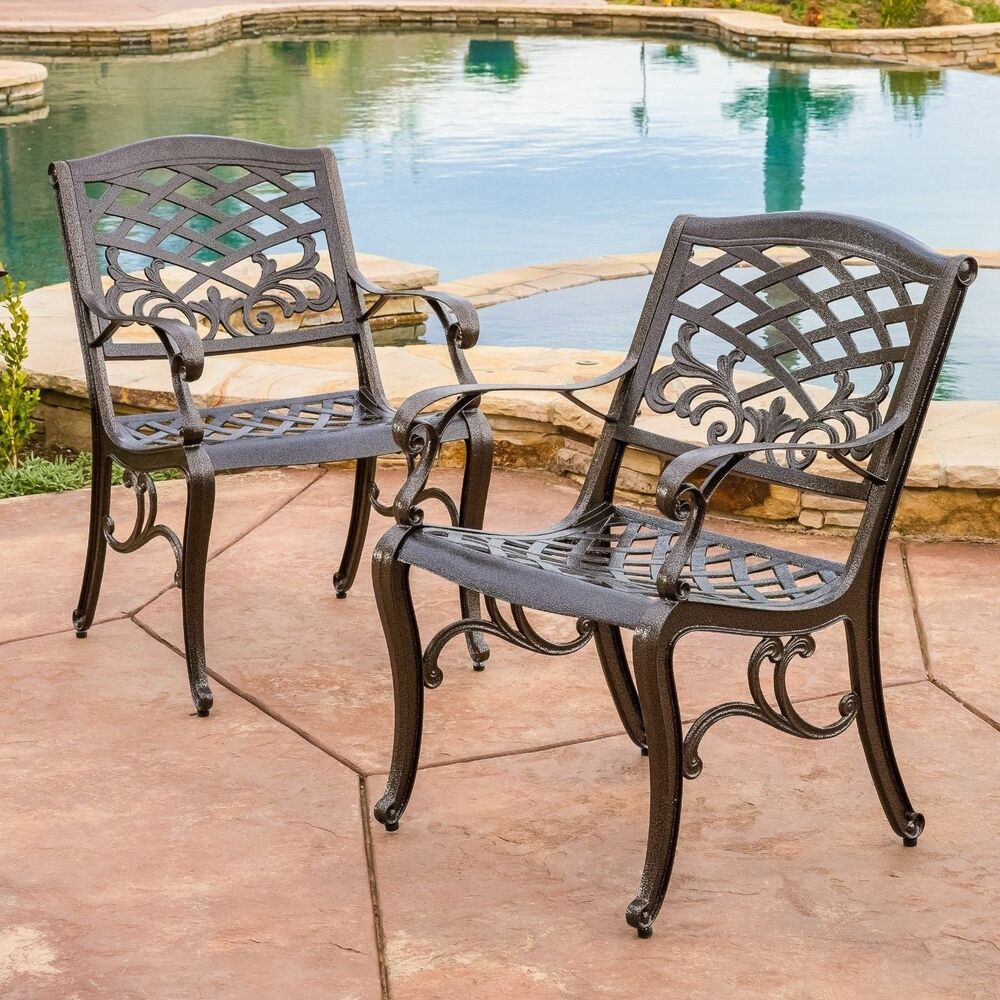 Set of 2 Outdoor Patio Furniture Bronze Cast Aluminum Dining Chairs
