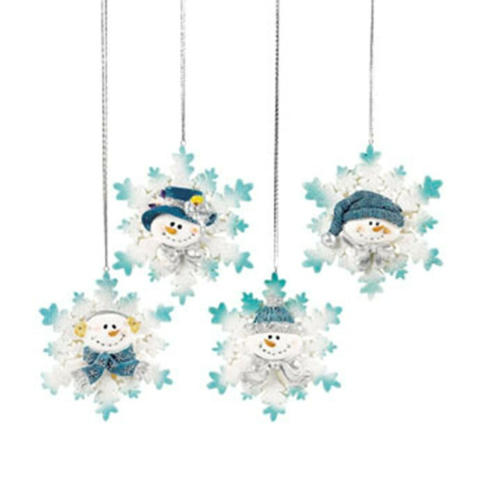12 blue glitter snowflake snowman snowmen glitter resin List of christmas ornaments