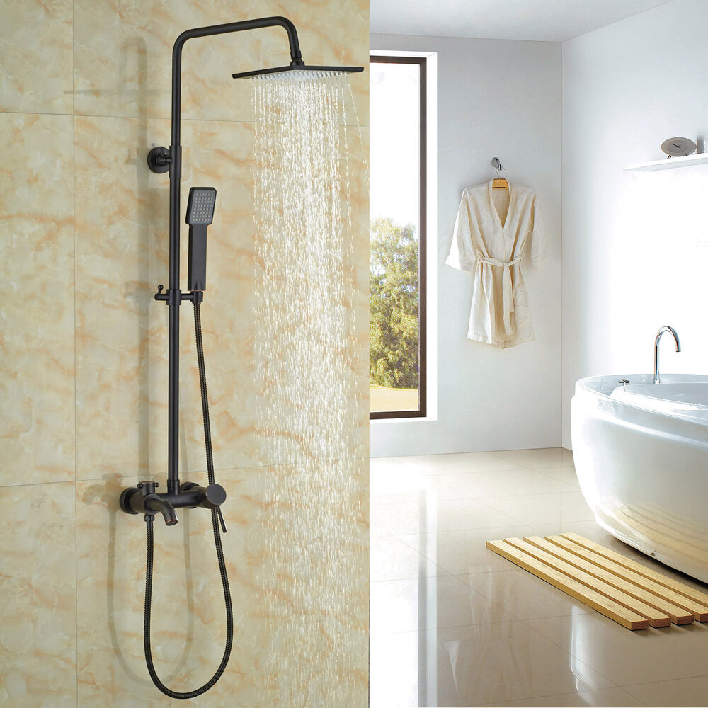 Oil Rubbed Bronze Bathroom Tub Shower Faucet System Rain Head With Hand Spray Ebay