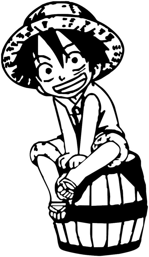 One piece monkey d luffy chibi anime decal sticker for - Stickers muraux noir et blanc ...