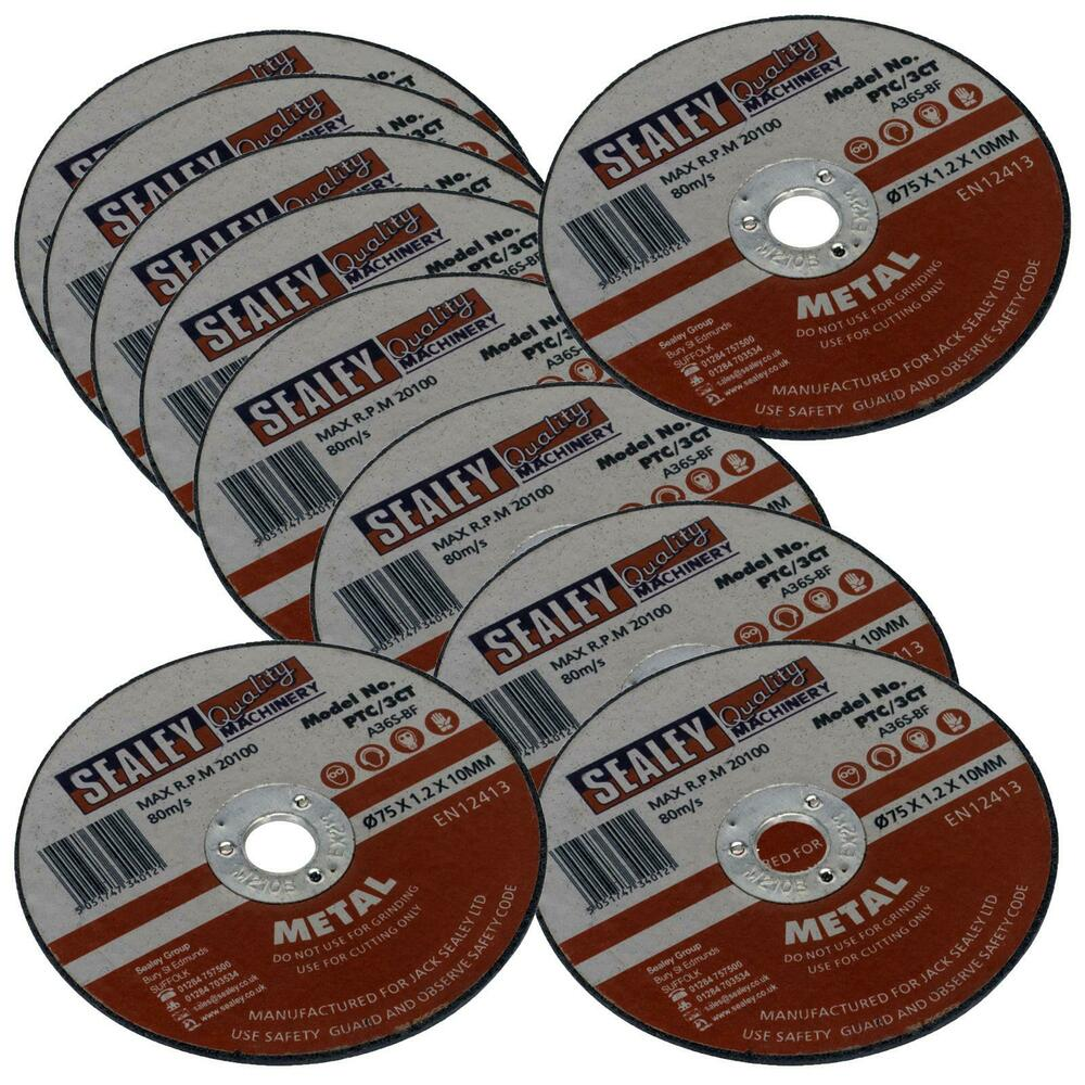 Sealey 10 Pack Metal Stainless Steel Cutting Discs 75mm X