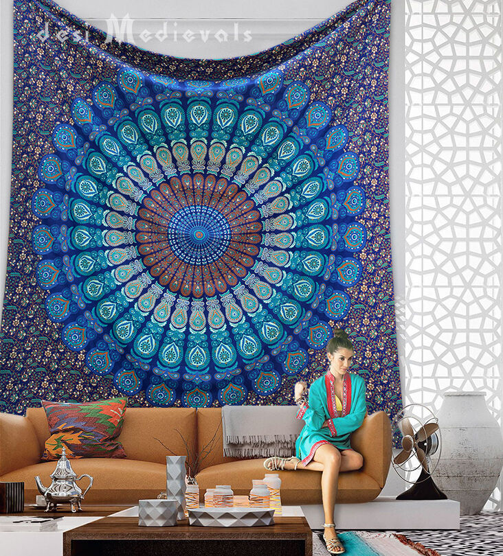 turquoise blue tapestry ethnic wall decor bedroom hippie mandala