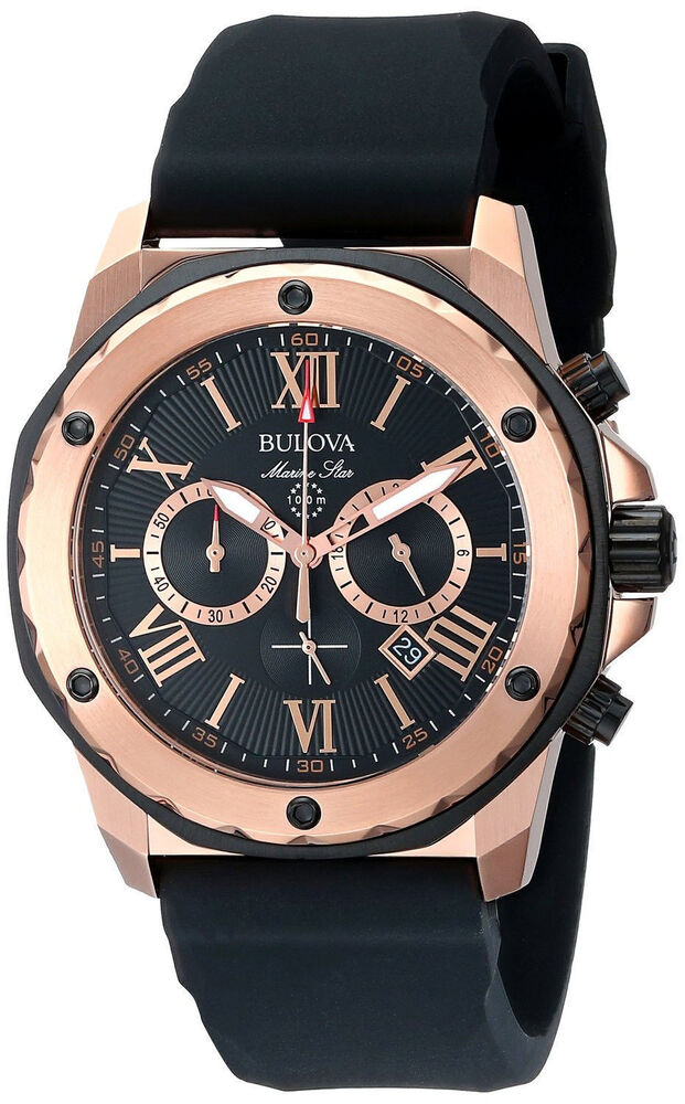 new bulova marine gold tone rubber s