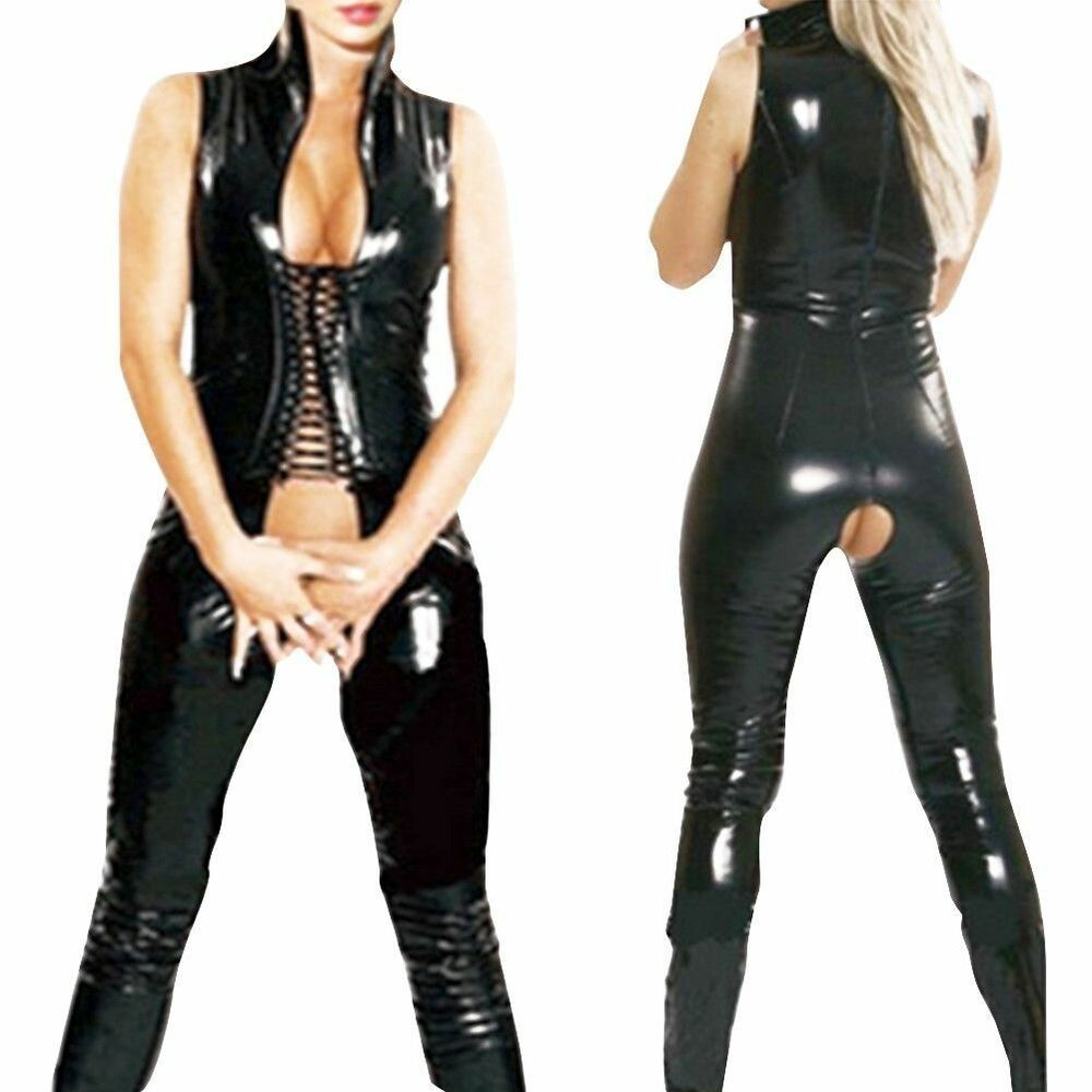 Crotchless leather pants