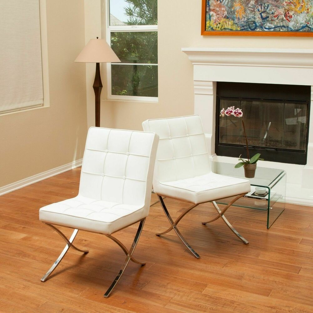Set of 2 modern mid century design white leather dining for White leather dining chairs