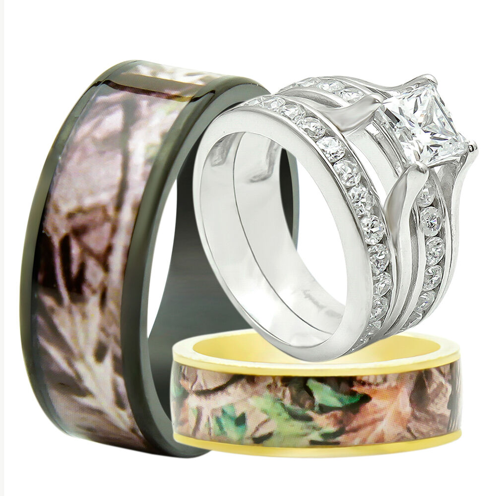 4pcs his hers titanium camo 925 sterling silver wedding