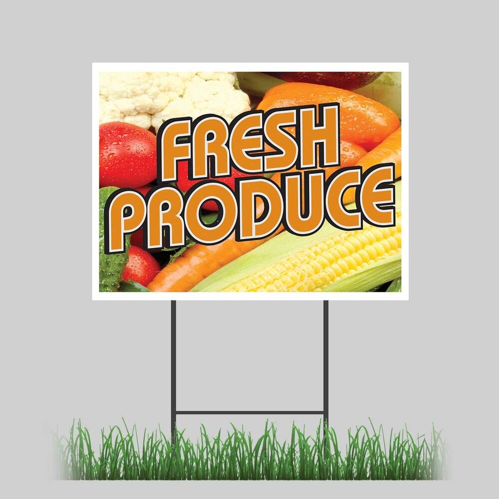 """12""""x18"""" Fresh Produce Yard Sign Fruit Stand Farmer Market. Faith Hope Signs Of Stroke. Scropio Signs. Adrenal Signs. Gaba Signs. Vintage Metal Signs Of Stroke. Safety Topic Signs. Arcade Signs. Pilate Signs"""
