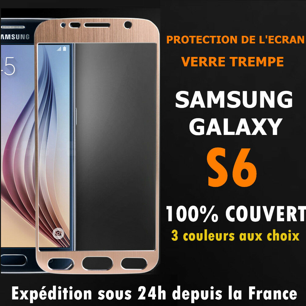 film de protection cran vitre en verre trempe int gral total samsung galaxy s6 ebay. Black Bedroom Furniture Sets. Home Design Ideas