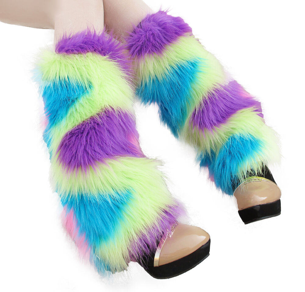 40cm Colorful Fluffy Furry Leg Warmers Boots Fluffies Covers Rave Furries | EBay