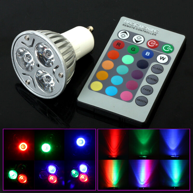 3w e27 gu10 e14 led rgb leuchtmittel farbwechsel strahler lampe fernbedienung ebay. Black Bedroom Furniture Sets. Home Design Ideas