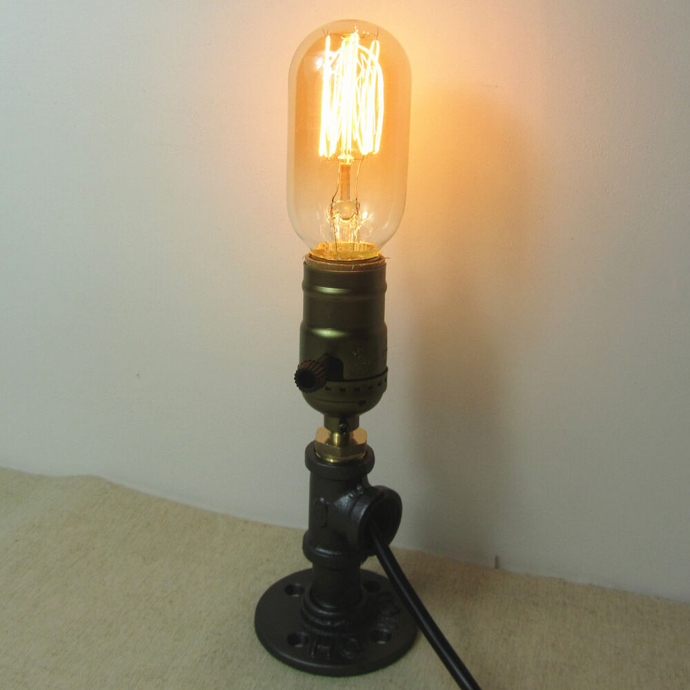 Pipe Lamp Industrial Lamp Urban Pipe Lamp By: One Socket Iron Pipe Bedside Table Desk Lamp Light Retro