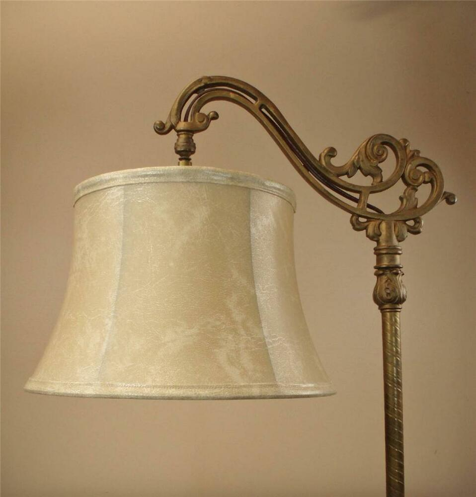 Bridge floor lamp shade faux leather for antique lamp for Vintage floor lamp with metal shade