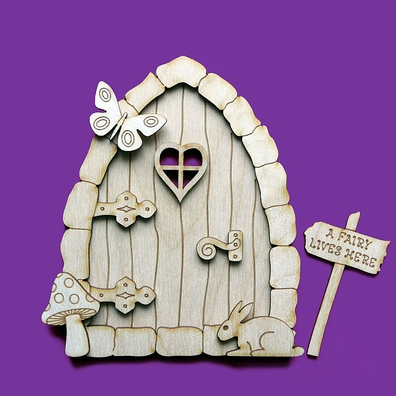 Fairy door 3d wooden house stone elf shapes pixie plywood for Fairy door shapes