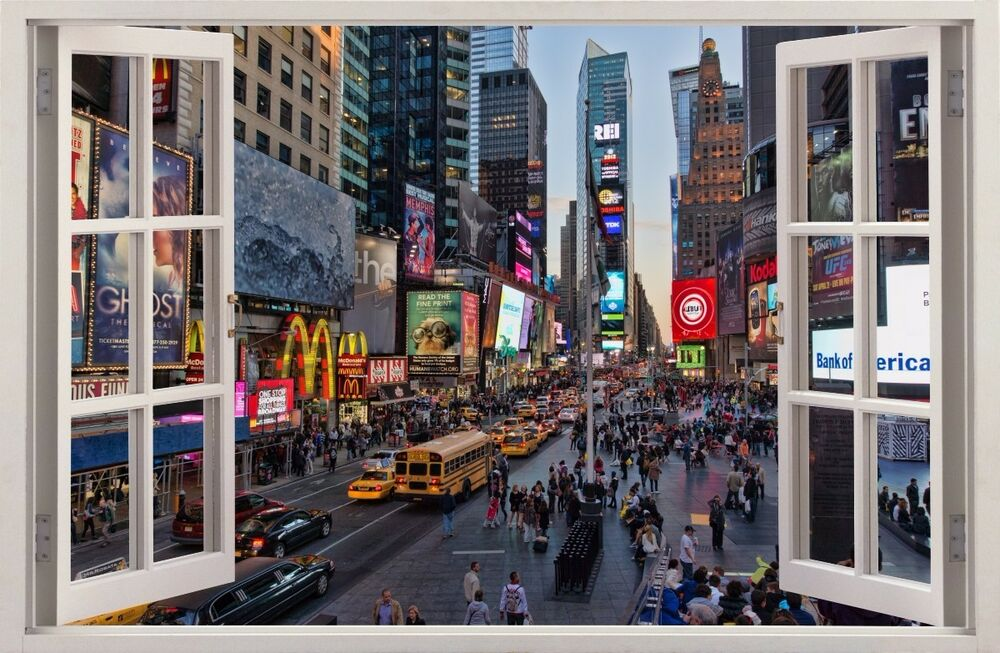 Wandaufkleber fenster 3d new york times square wand for Bild fenster new york