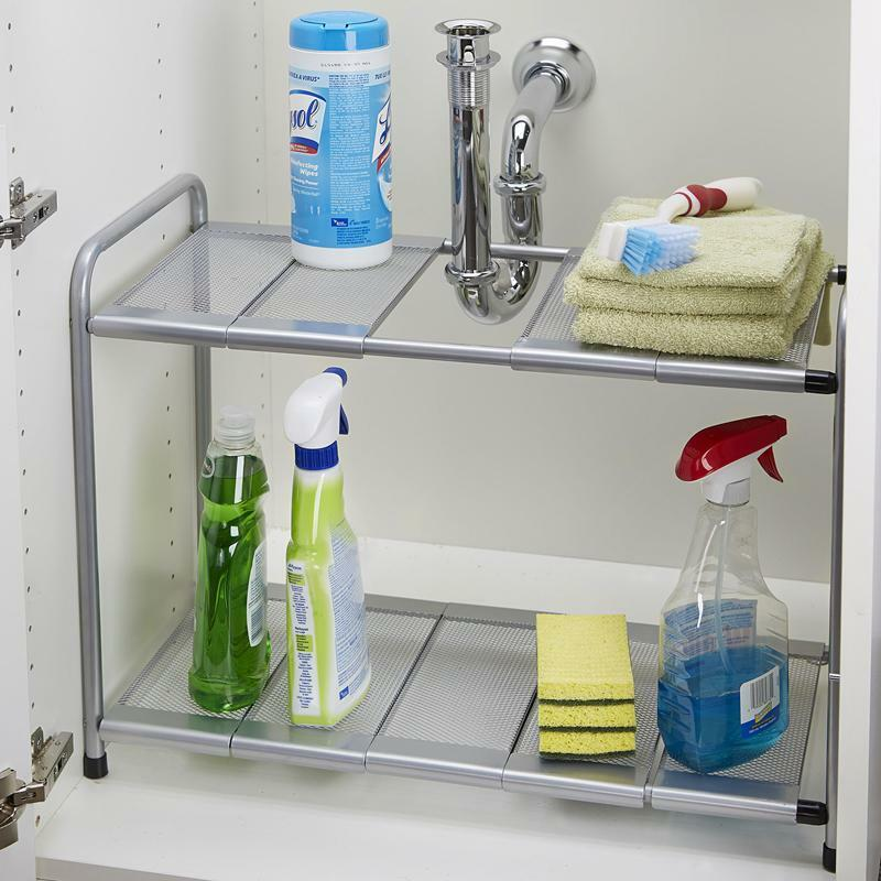 kitchen rack organizer adjustable removable under sink storage tidy shelf unit ebay. Black Bedroom Furniture Sets. Home Design Ideas