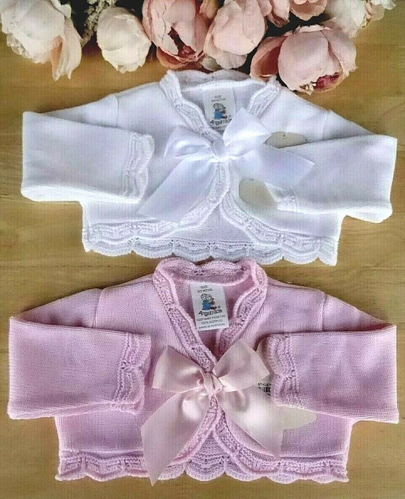 9aaf99676d13 Baby Girl Knitted Pink White Occasion Party Cardigan Bolero Crochet ...