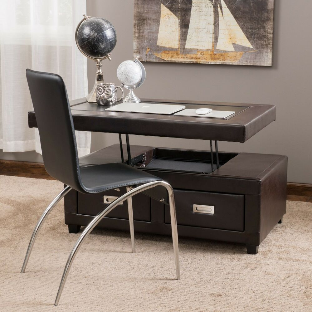 Living Room Brown Leather Convertible Coffee Table Ottoman W Drawers Ebay