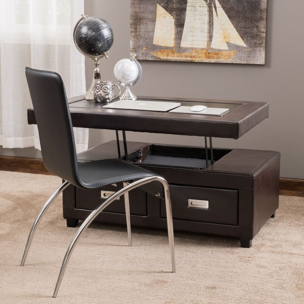 Merihill Coffee Table With Ottoman: Living Room Brown Leather Convertible Coffee Table Ottoman