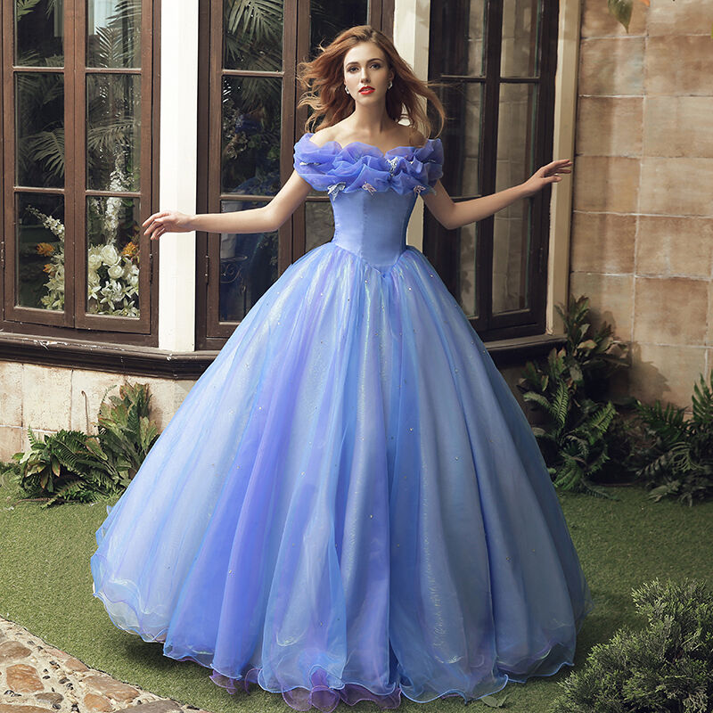 Princess Cinderella Wedding Dress Costume For: 2015 NEW Movie Sandy Princess Cinderella Princess Dress