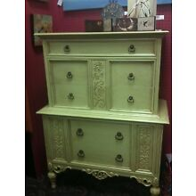 Vtg hand-painted dresser cottage chic shabby chic beach chic green with pulls