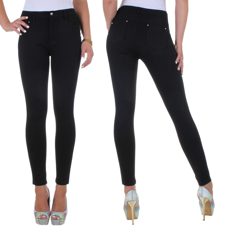 ladies stretch skinny trousers women 39 s pants jeans look plus size 36 48 13o ebay. Black Bedroom Furniture Sets. Home Design Ideas