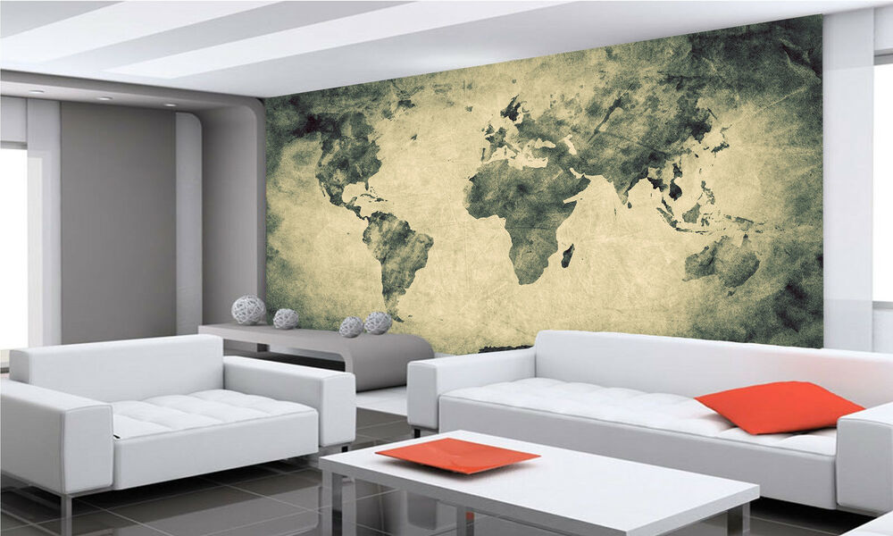 Ancient old world map wall mural photo wallpaper giant for Antique world map mural