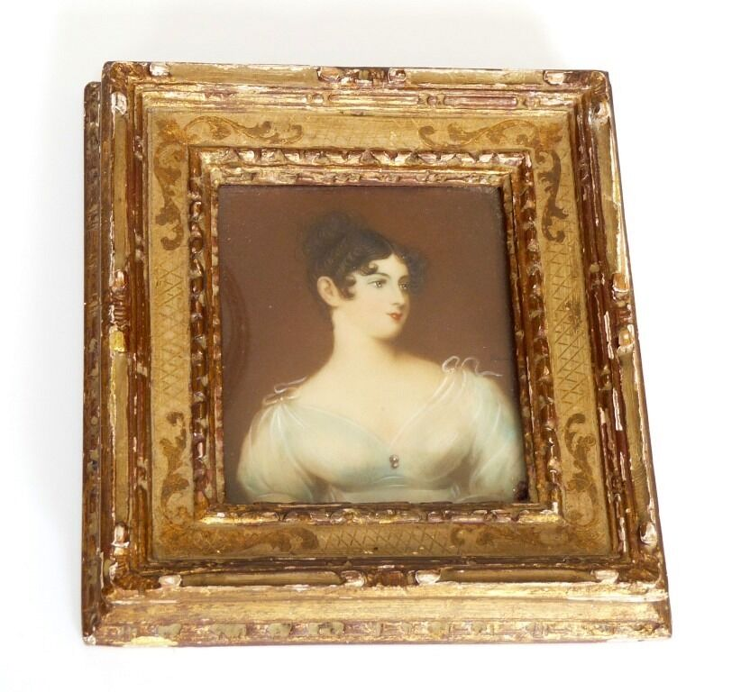 Vintage hand painted miniature lady portrait gilt wood for Hand painted portraits from photos