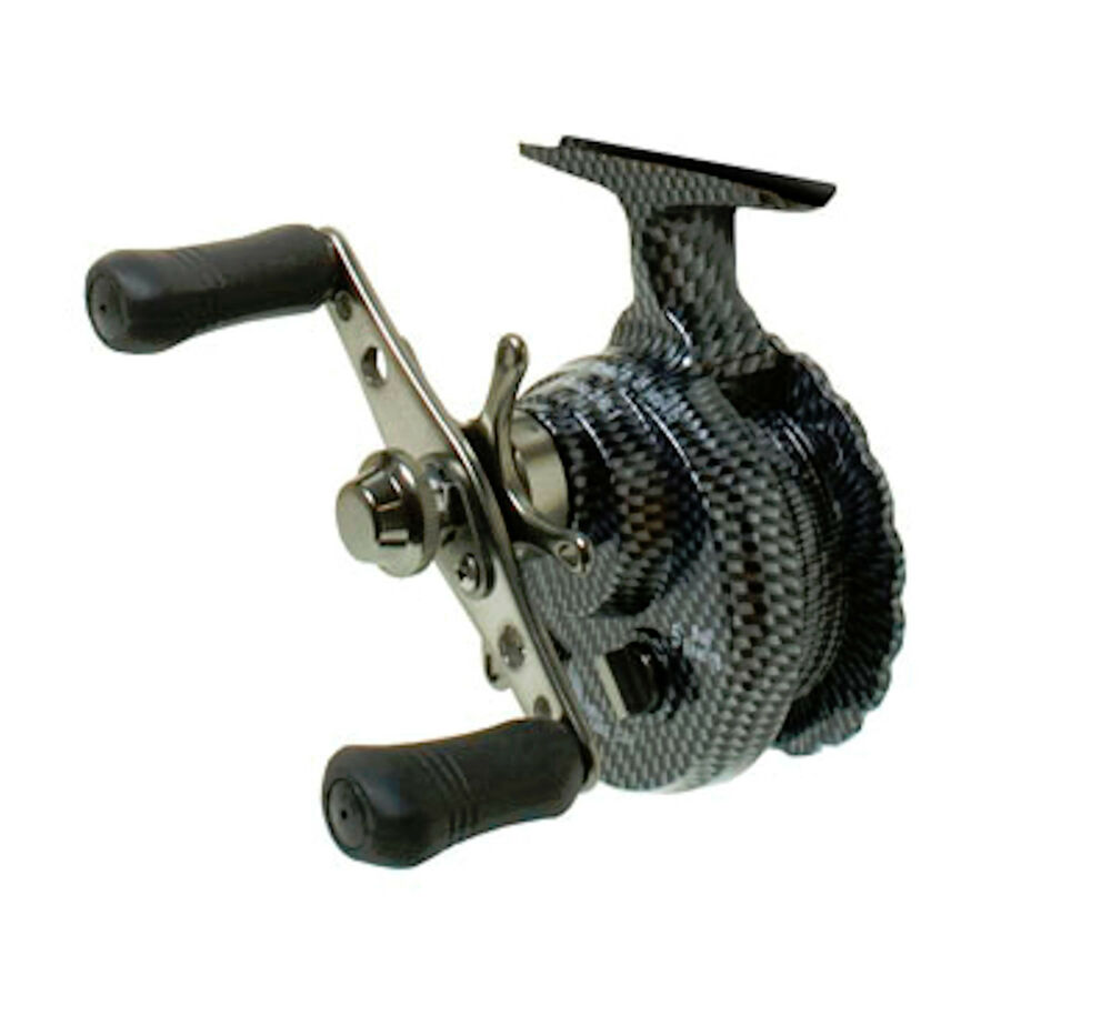 Eagle claw inline ice reel with smooth teflon drag for for Ice fishing reel